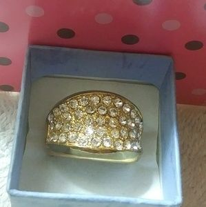 Gold tone statement ring with rhinestones